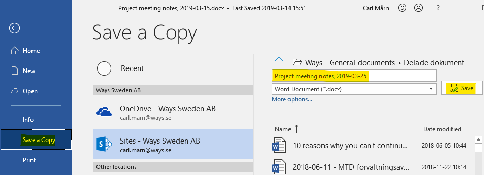 "Select the ""save a copy"" option in MS Word"