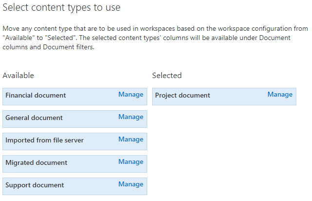 Select the content types to use