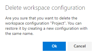 """The """"Delete workspace configuration"""" warning message"""