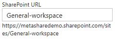 "A MetaShare workspace's ""SharePoint URL"" field"