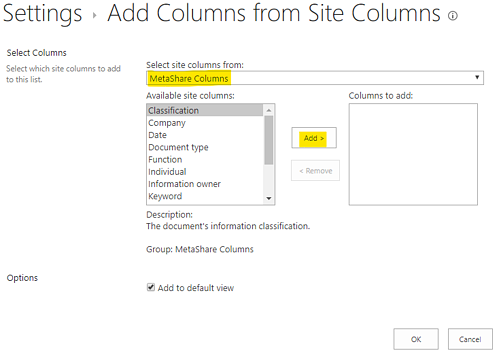 Add columns from existing site columns
