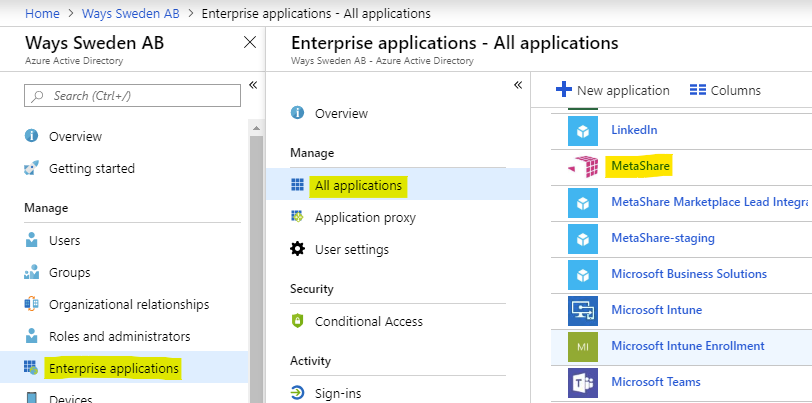 MetaShare added as app, in your Azure portal