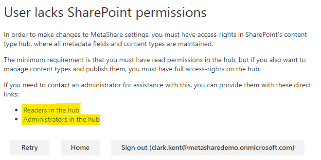 User lacks permissions in SharePoint's content type hub