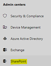 """Link to """"SharePoint"""" admin center"""