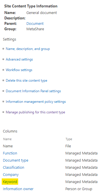 A site content type's settings page