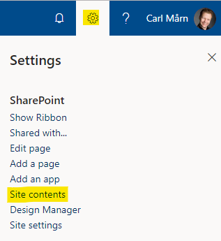 """Link to SharePoint's """"Site contents"""""""