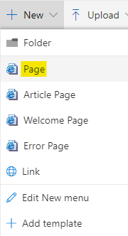 Create a new custom search page