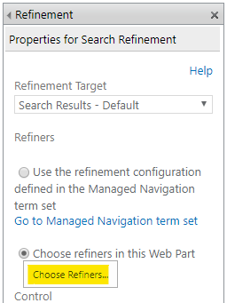 """Click on the """"Choose Refiners"""" button"""