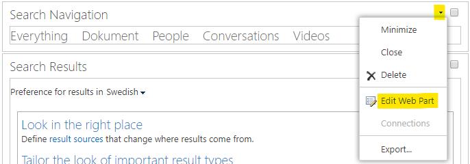 "Edit the ""Search Navigation"" web part"