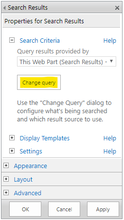 """Change the query on the """"Search Results"""" web part"""
