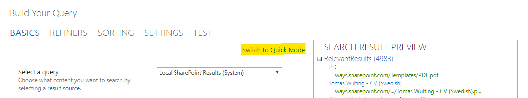 """See to it that your query is in """"Advanced mode"""""""