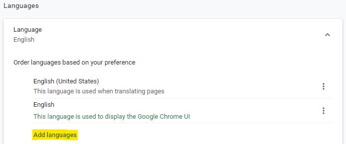 Add a language in Chrome