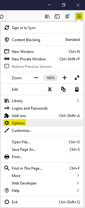 Link to Options, in Firefox