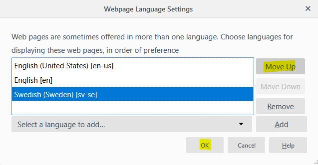 Change language preference, Firefox