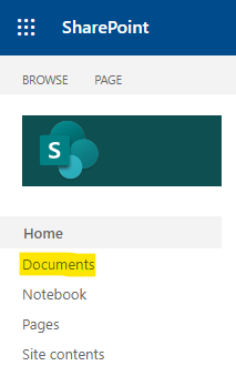 Navigate to SharePoint's document library