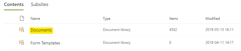 A site's document library