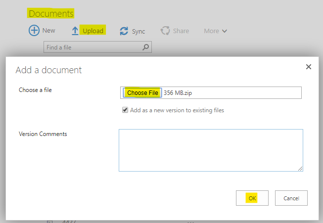 Uploading a document using the document library web part