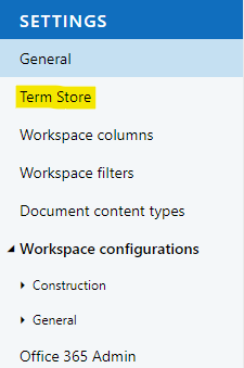Link to the term store from within MetaShare Settings