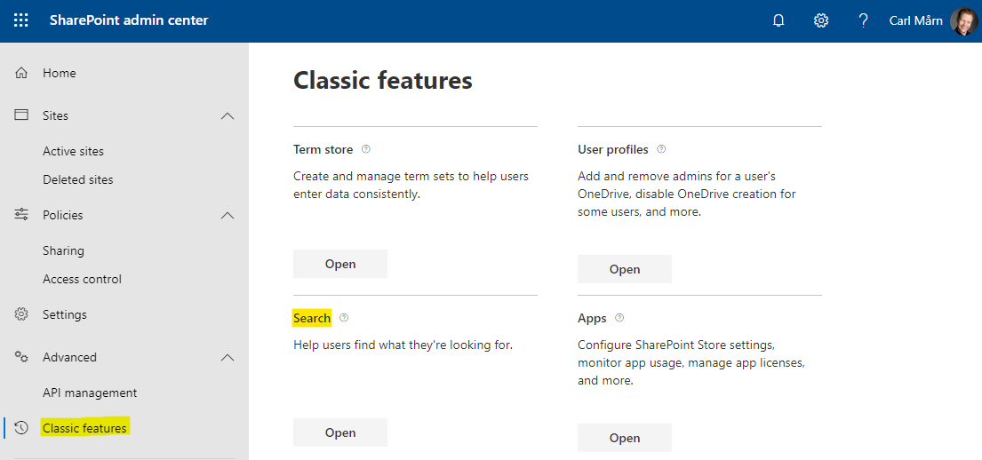 The link to search settings in SharePoint's modern admin center