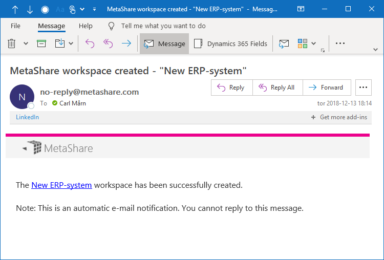 A workspace creation confirmation e-mail with a link to the workspace