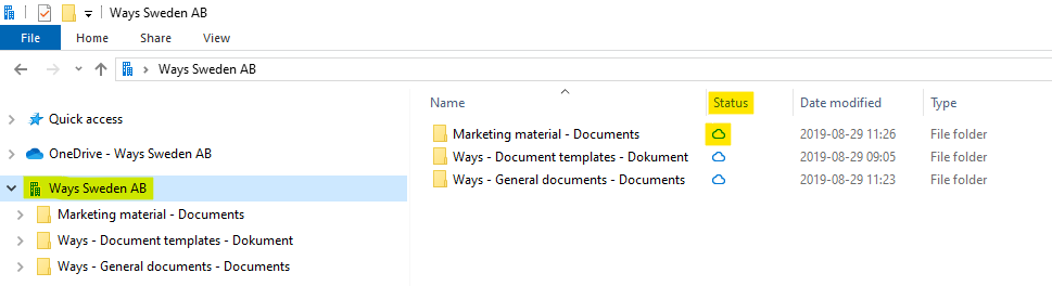 Document libraries that you have synchronized