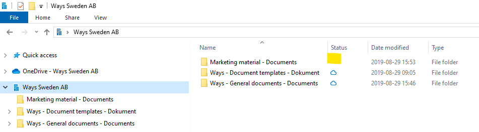 OneDrive's status indicates that the folder no longer is synchronized