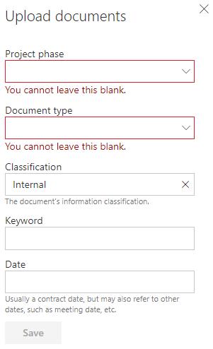 MetaShare's document property form - multiple upload