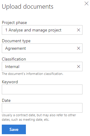 MetaShare's document property form - all mandatory fields are filled in