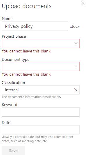 MetaShare's document property form - single upload