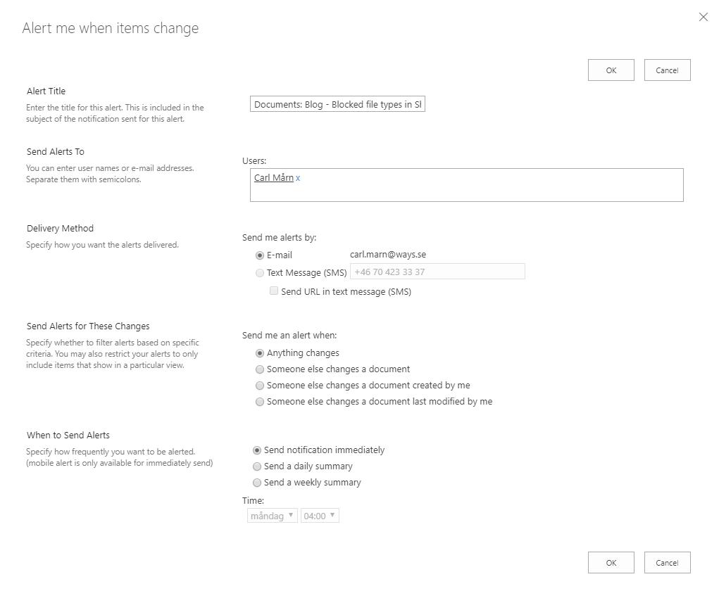 A document's alert me page