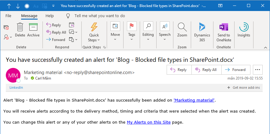 An e-mail confirmation of a created alert