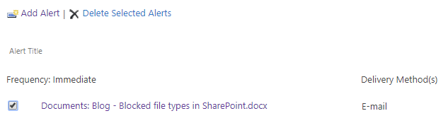 The link to all alerts that you have created on a specific SharePoint site