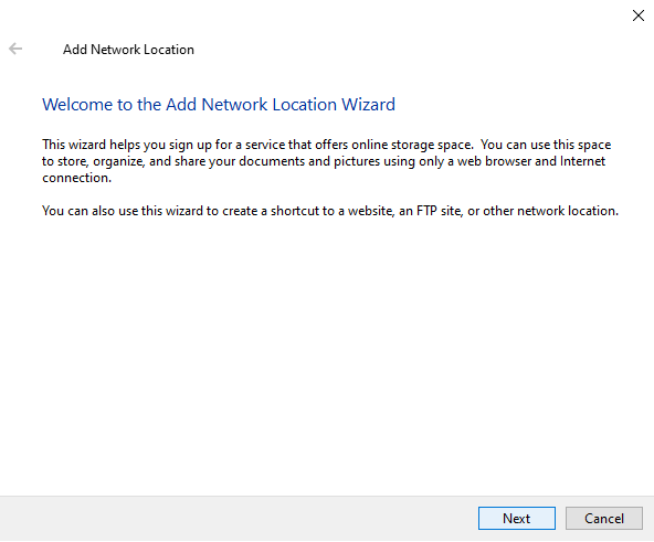 The Add a network connection wizard