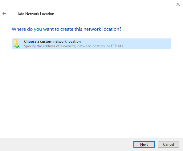Where do you want to create this network location?