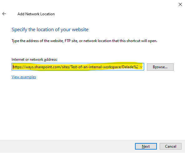 """Paste the address to the document library in the """"Internet or network address"""" field and click on the """"Next"""" button"""