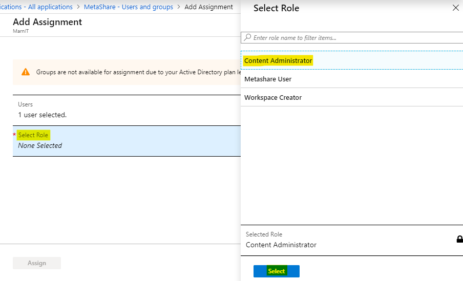 Click on the role that you want to assign the users