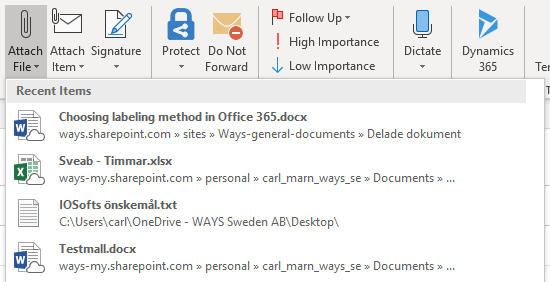 """Click the """"Attach File"""" function in Outlook's Ribbon"""