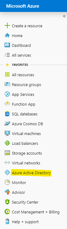"""Click on """"Azure Active Directory"""""""