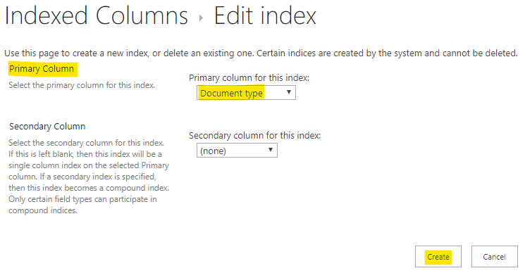Select the column that you want to index