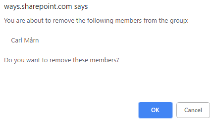 Confirm that you want to delete the users/groups