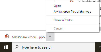Google Chrome - what do you want to do with a downloaded file