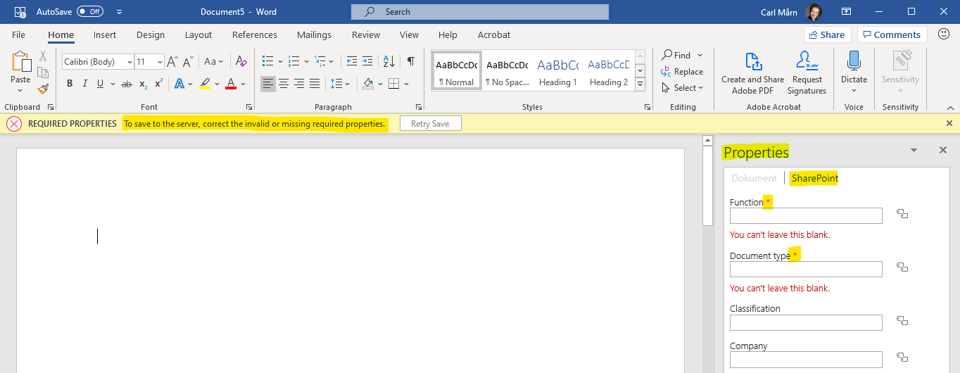 Word displays the document's SharePoint properties
