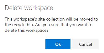 Confirm the workspace deletion