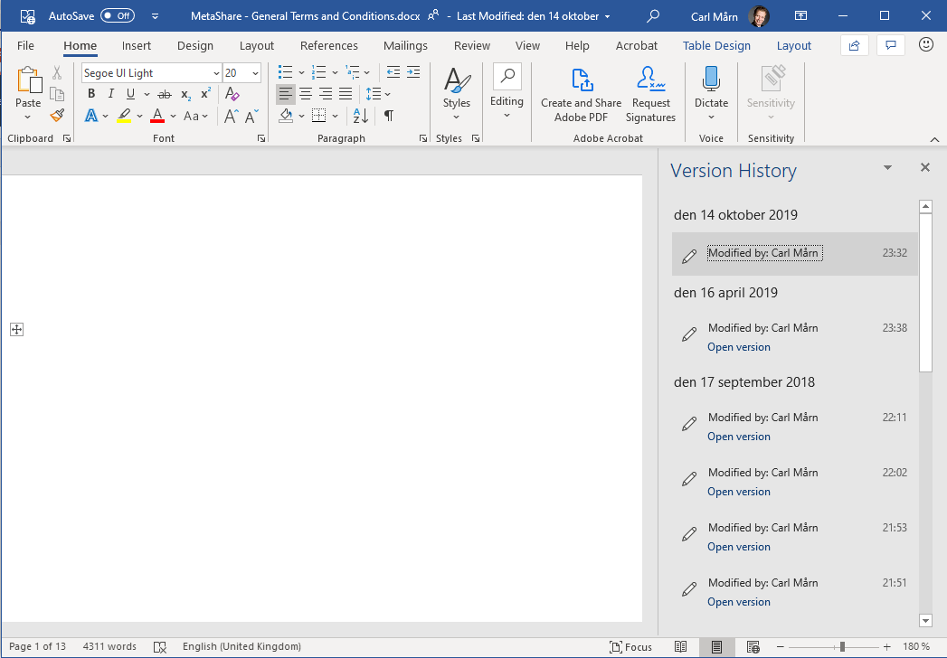 """A document's versions listed on the """"Version History"""" pane in Microsoft Word"""
