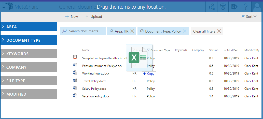 Drag and drop documents to MetaShare