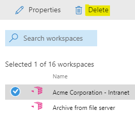 Select a workspace and click on the delete function