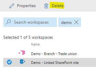 Select a SharePoint site and click on the delete function