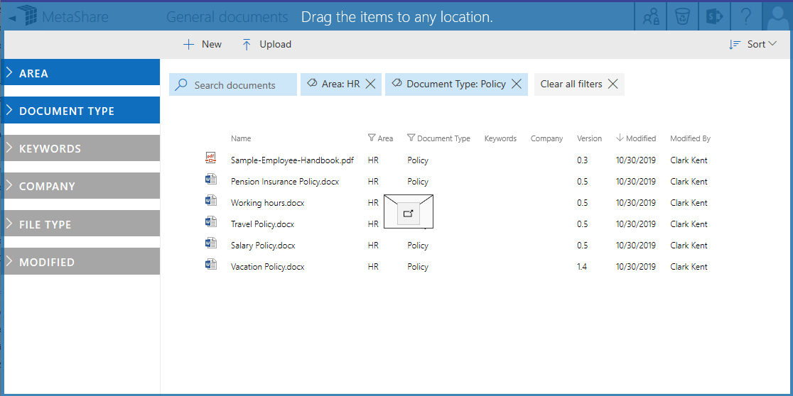 Drag and drop e-mails and attachments Outlook to MetaShare