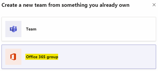 """Select the option """"Office 365 group"""""""