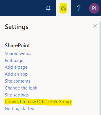 Connect a site to a new Office 365 Group